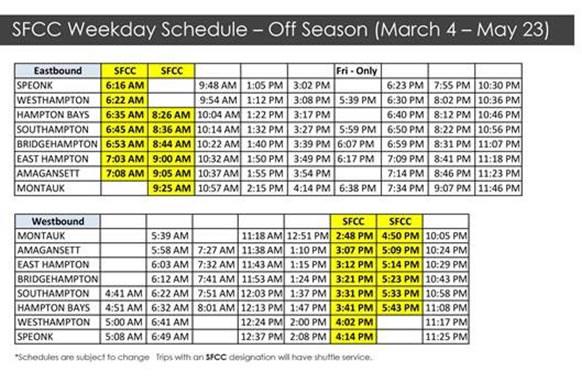 LIRR timetable